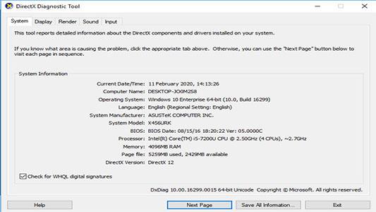 dxdiag informasi spesifikasi laptop dan komputer