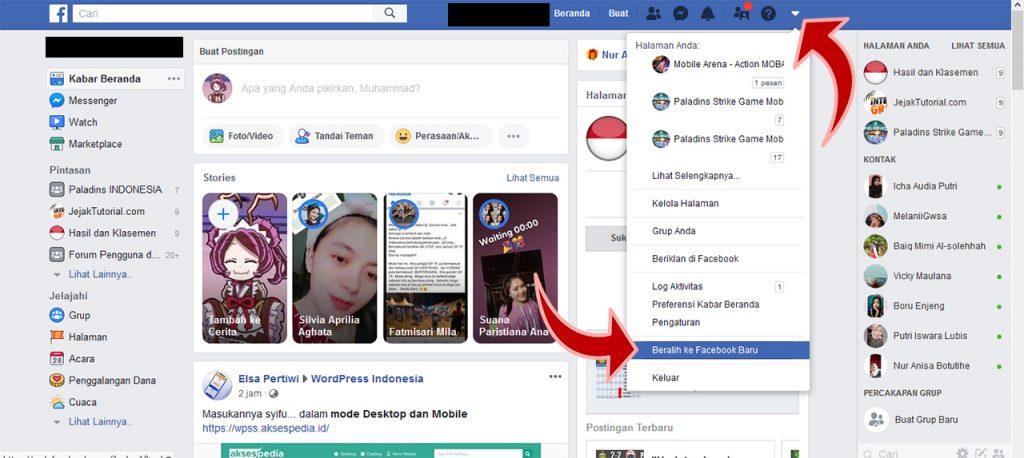 Cara merubah tampilan facebook lama ke baru