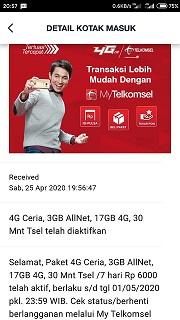 paket ceria telkomsel 20gb sudah aktif