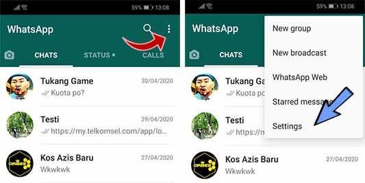 pilih setting pada aplikasi whatsapp